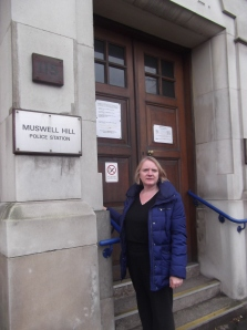 Joanne McCartney AM outside Muswell Hill Police Station, due to be closing down.