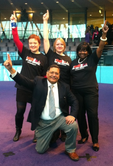 Fiona Twycross, Joanne McCartney, Jennette Arnold and Navin Shah after the One Billion Rising Event