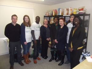 Joanne McCartney AM, Fiona Twycross AM and volunteers at the North Enfield Food Bank