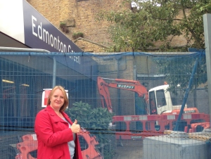 Joanne outside construction work at Edmonton Green llifts